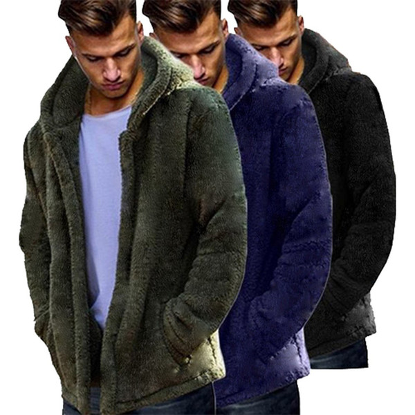 2018 New Winter Coat Men Leisure Long Sections Loose Double-Sided Plush Hoodie Tops Casual Fashion Jackets / Casual Men Overcoat C18110901