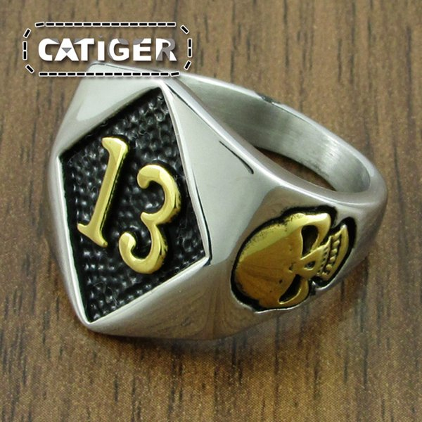 Free Shipping ! Punk Silver White Black color 316L Stainless Steel Gold Plated 13 Glamor Skull Ring Number 13 Men's Skeleton Ring Jewelry
