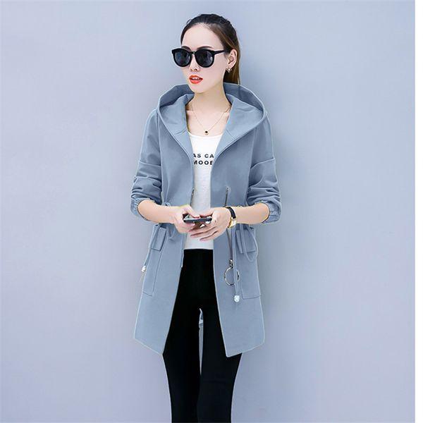 Harajuku Long Coat Women Windbreaker Overcoat 2018 Autumn Korean Plus Size Slim Thin Hooded Blue Red Trench Coat Women Clothes