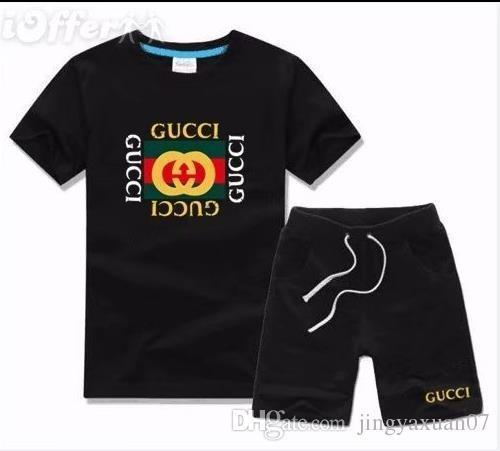 Boy Çocuk Setleri Çocuklar T-shirt Ve Pantolon Çocuk Pamuk Setleri Bebek Erkek Kız Yaz Suit Bebek Spor Takım Elbise 2 Adet / takım 1-6 T