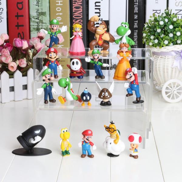 18pcs Mini Super Mario Bros PVC Action Figure Doll Toy Christmas Gifts Cute Yoshi Peach Princess Luigi Odyssey Donkey Kong Model Dolls
