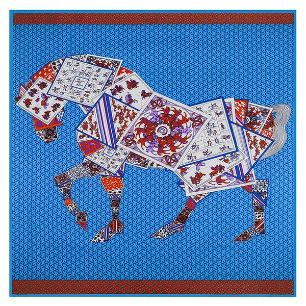 Large Square Women Horse Print Shawls Womens Brand Paris Design Silk H Scarf Blue Foulard Femme Echarpe