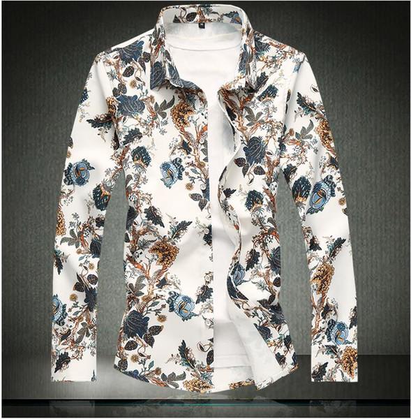 2018 New Autumn Man Shirt Motif Design À Manches Longues Fleurs Florales Imprimer Slim Fit Hommes Chemise Casual De Mode Hommes Robe Chemises