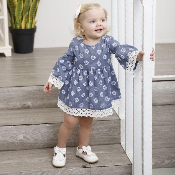 New long sleeve skirt comfortable girls mesh skirt Dress of Girl Kids Clothings Lace 100% Cotton Children Newborn Baby Party Brithday Dress
