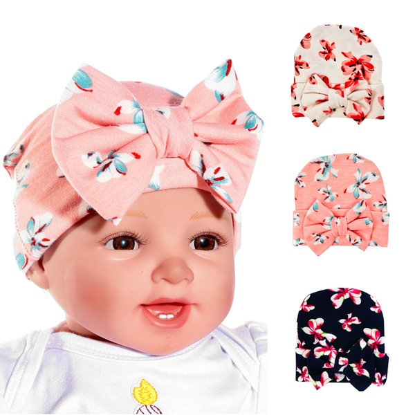 Newborn Hat 3 Color Children Big Bowknot Knitted Cap Baby Knot Head Wraps Caps Cotton Newborn Child Hats MZ021
