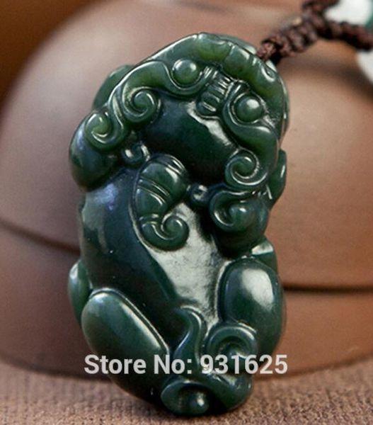 Naturel véritable HeTian Yu sculpté à la main chinois PiXiu bénédiction chanceux Amulette porte bonheur vert pendentif + corde collier bijoux