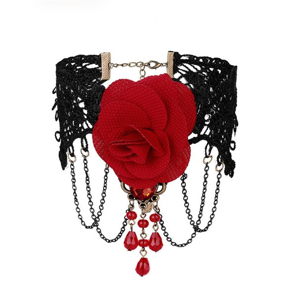 Haimeikang Valentine Black Lace Choker Gift 2018 Fashion Red Rose Flower Tassel Short Clavicle Necklace for Women Jewelry