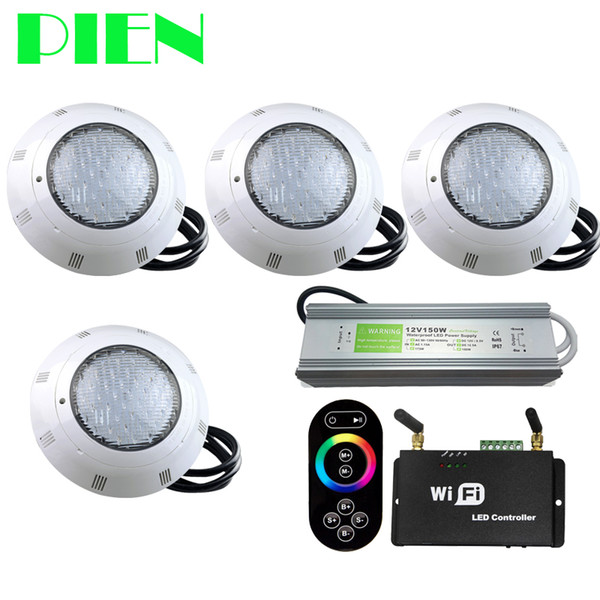 WIFI Wireless RGB LED Pool Lichter Harz gefüllt Par56 Unterwasser Luz Piscina IP68 12V 18W 42W mit RF Remote Power Supply 4pcs
