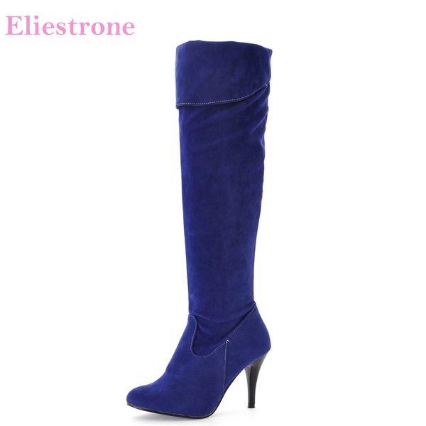 Nuovo inverno confortevole nero blu donna stivali alti coscia grigio signore scarpe nude MR58 tacco alto più grandi dimensioni 10 43 47 50
