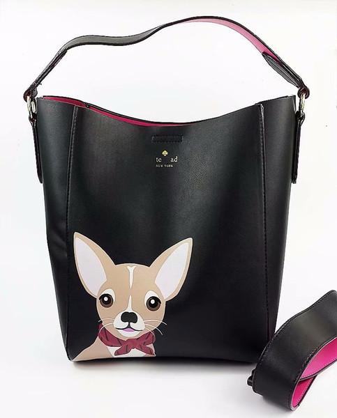 Bolsas De Marca de luxo Bonito cão de coelho Designer de Couro Das Mulheres de Largura Saco de Alça Feminina Bolsa de Ombro Mulheres Sacos Do Mensageiro Balde Tote