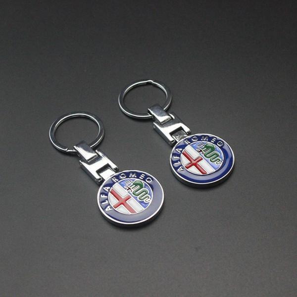 2pcs Fashion Metal Car Keychain Key Ring Key Chain Keyring For Alfa Romeo 159 147 156 Giulietta Mito Spider GT Key Holder Car Styling