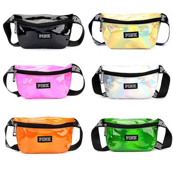 Pink Waist Bag láser Beach Travel Pack Fanny bolsa de teléfono transparente bolso de la correa bolsas de cosméticos al aire libre