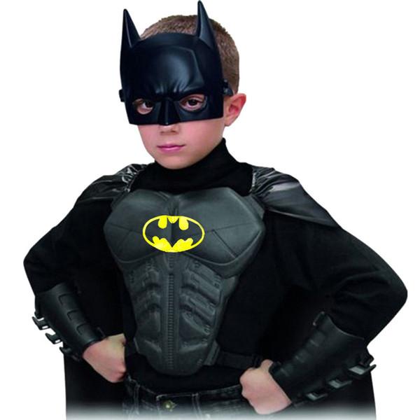 2017 Halloween Party Cosplay Batman Costumes Children Clothing Kids Superhero Mask+Cape+Wristguard+Breastplate Brand New DS29 Y1892706