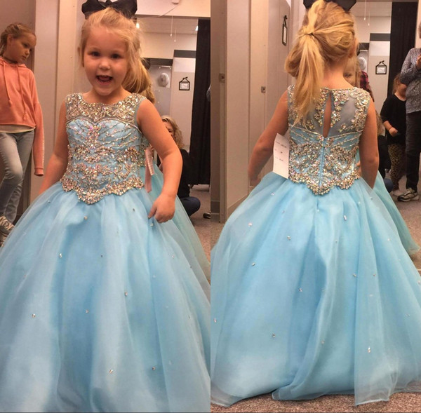 2018 Sky Blue Girls Toddler Pageant Dresses A Line Crystals Beaded Kids Formal Wear Gowns Little Flower Girl Dress