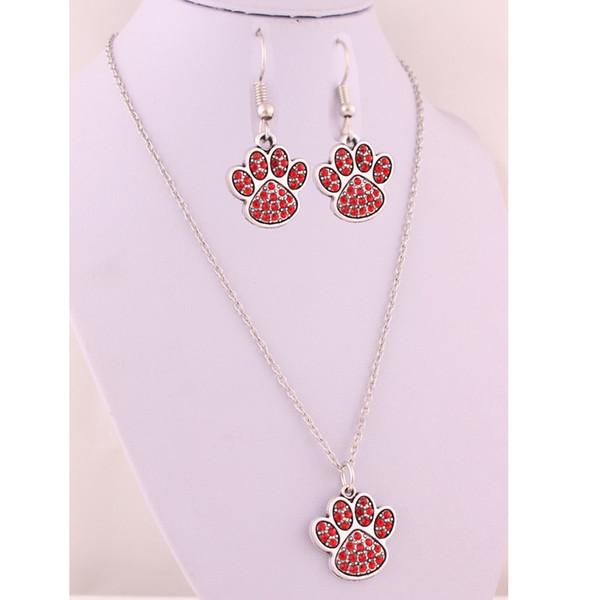 Mélanger la couleur alliage de cristal patte empreinte empreinte Fit pour bricolage chien ou chat ou ours Pet boucles d'oreilles collier bijoux ensemble