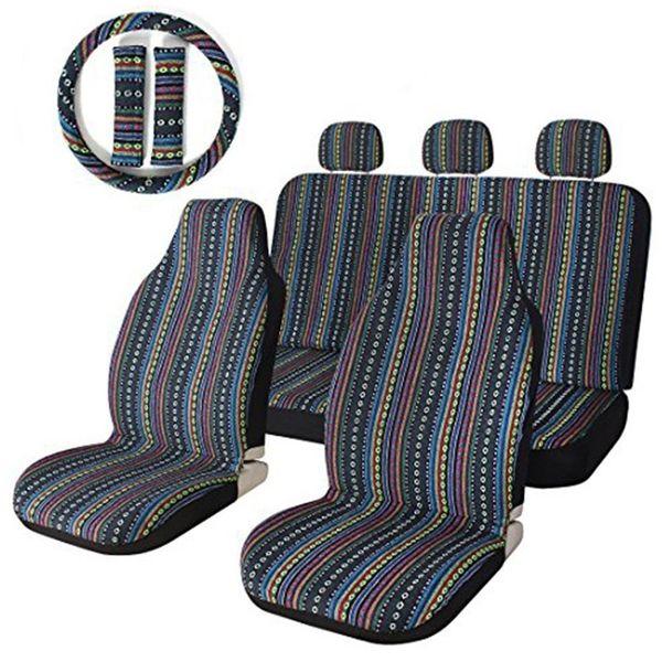Las fundas de los asientos de coche Set High Quality Stripe Colorful Seat Cover Baja Blue Saddle Blanket Weave Fundas de asiento universales del cubo con el volante
