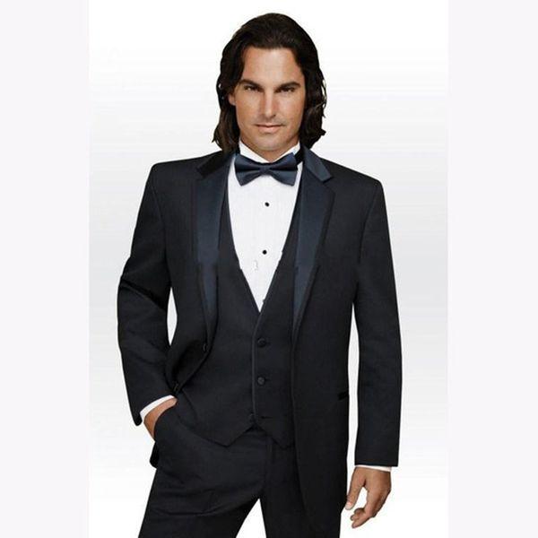 Brand Two Buttons Black Groom Tuxedos Notch Lapel Best Prom mens Suit Business wedding suits for men 2018( jacket+Pants+vest