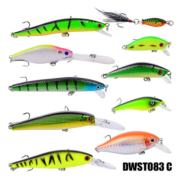 10pcs/Lot Fishing Lures Set Mixed 10 Models Minnows Bait Artificial Make Bass Crankbaits High Quality Wobblers Fishing Tackle