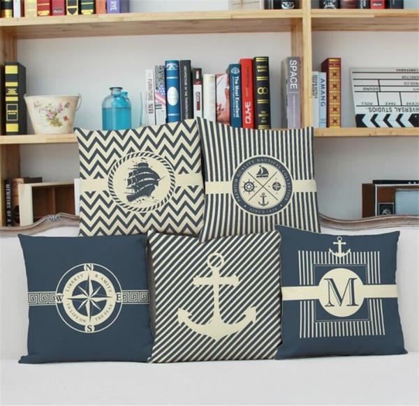 Puro e fresco estilo oceano fronhas Leme âncora barco leme composto composto de linho fronha estudantes escritório nap almofadas capa de almofada