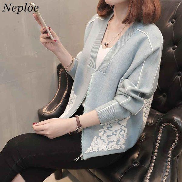 Neploe 3D Flower Appliques Sweater Cardigan Long Sleeve V-neck Knitwear Zipper Design Pull Femme New Spring Knitted Coat 36033