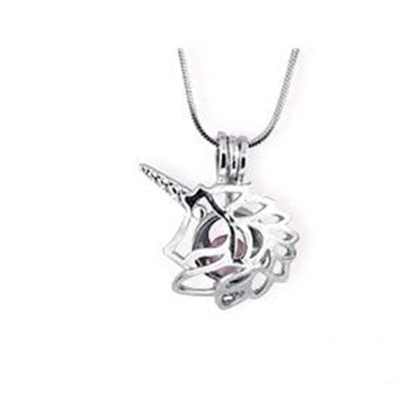 18kgp Unicorn Cage Pendant, Can Hold 9mm Pearl Gem Bead Locket Pendant Mounting, DIY Necklace Bracelet Jewelry Making Accessory Charms P75