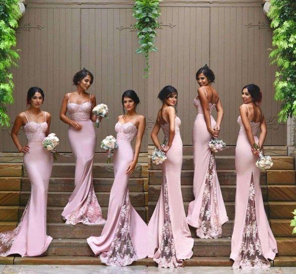 Blush Pink Bridesmaid Dresses Spaghetti Strap Sleeveless Mermaid Lace Junior Country Bridesmaid Dresses Long Maid Of Honor Dresses Hy250 Bridesmaid