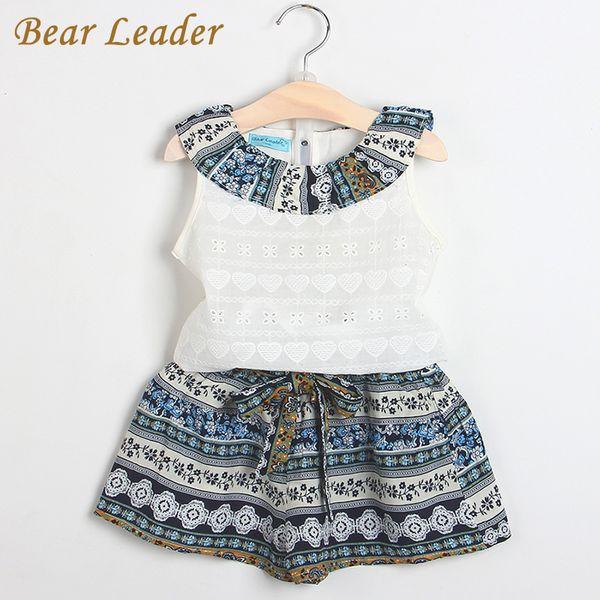 Bärenführer Mädchen Mode Kleidung Sets 2017 irls Kleidung Kinder Kleidung Sets Sleeveless Weißes T-Shirt + Kurze 2 Stücke Anzüge