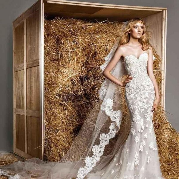 2019 Vintage Zuhair Murad Wedding Dresses with Detachable Overskirts Strapless Sweetheart Appliqued Royal Wedding Gowns High Quality