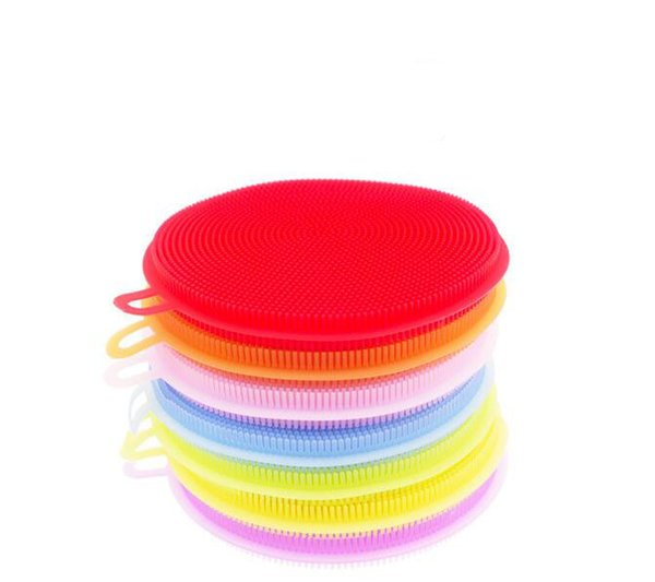 8 colors Magic Silicone Dish Bowl Cleaning Brushes Scouring Pad Pot Pan Wash Brushes Cleaner Kitchen