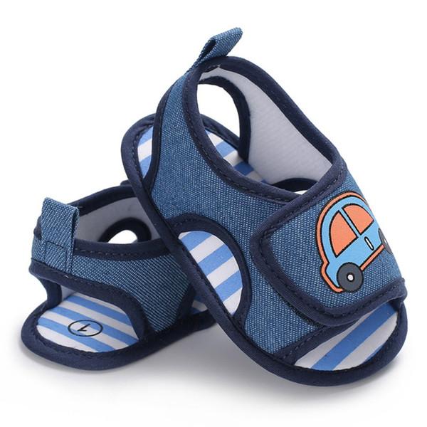 Neugeborenes Baby Jungen Schuhe Infant Kleinkind Auto Printed Krippe Schuhe Blau Sommer Weiche Sohle Erste Wanderer Prewalkers Mode Schuhe