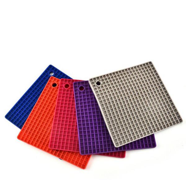 Square Honeycomb Shape Silicone Rubber Coaster Pot Holder Anti Slip Place Mat Heat Resistant Pot Insulation Cushion LJJO5189
