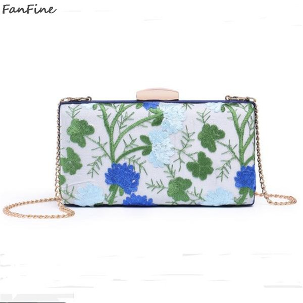 FanFine National Chinese Style Women Vintage Floral Red Clutch Purse Bridal Wedding Embroidery Flower Bird Party Evening Bag