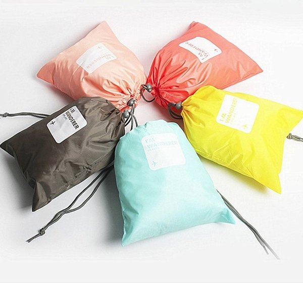 Set of candy color bundle pocket four-piece travel clothing storage finishing waterproof nylon bag 5 color mixed batch