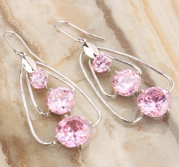Glaring 3 pcs Gems Pink Cubic zirconia 925 Sterling Silver Jewelry Drop Dangle Earrings For Women Free Shipping S5314