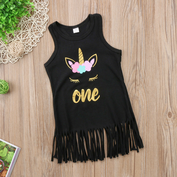 Summer Baby Girls Unicorn Tassel Sundress Sleeveless Black Dresses Vest Skirt Golden Letter Print Party Costume Princess Dress 90-130cm best