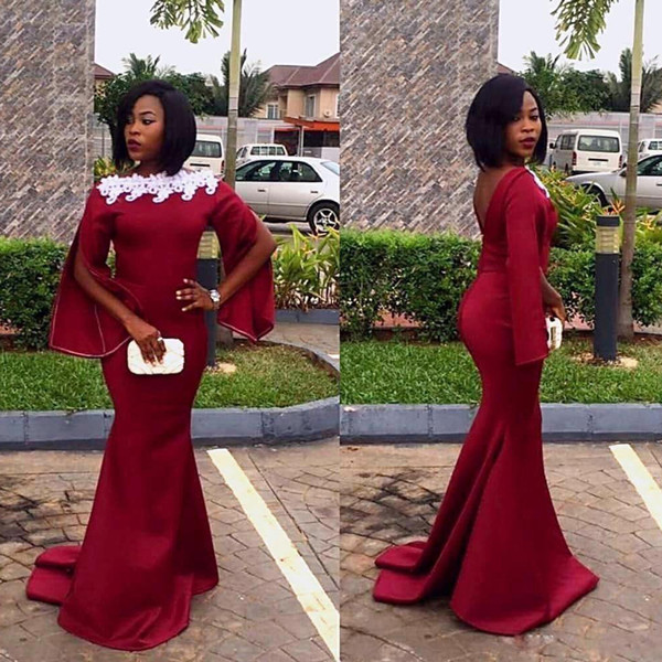 Custom Made Mermaid Africa Evening Dresses Bateau Long Sleeve White Lace Appliques Satin Formal Gown Sweep Train Prom Wear