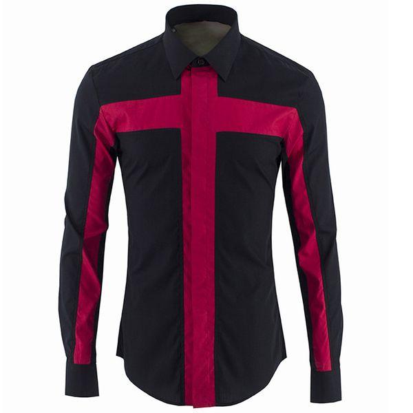 Avrupa Lüks Erkekler Gömlek Marka Patchwork Marka Gömlek Erkekler Rahat Slim Fit Erkek Gömlekler Chemise Homme Marque Camisa Masculina