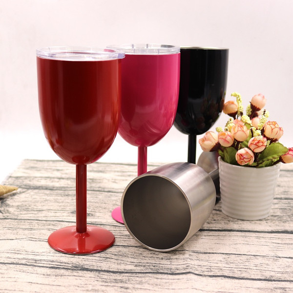 10oz Wine Glasses Stainless Steel Double Wall Insulated Metal Goblet Red Wine Cups Tumbler With Lids 25pcs 9 Colors free shipping