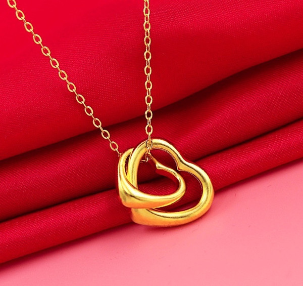 Free Shipping New 24k 18k Yellow Gold Heart Pendant Locket Necklaces For Women Jewelry Fashion Necklace Christmas Gift