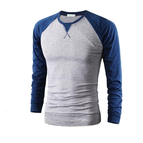 Raglan manga camiseta hombres camiseta Homme tendencia blanco y negro camiseta casual manga larga camiseta cuello slim fit camiseta