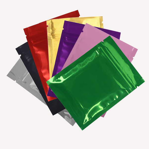 """7.5x10cm (3x4"""") 100pcs/lot Glossy Colors Heat Sealable Small Zip Lock Bags Food Storage Package Bag with Zipper"""