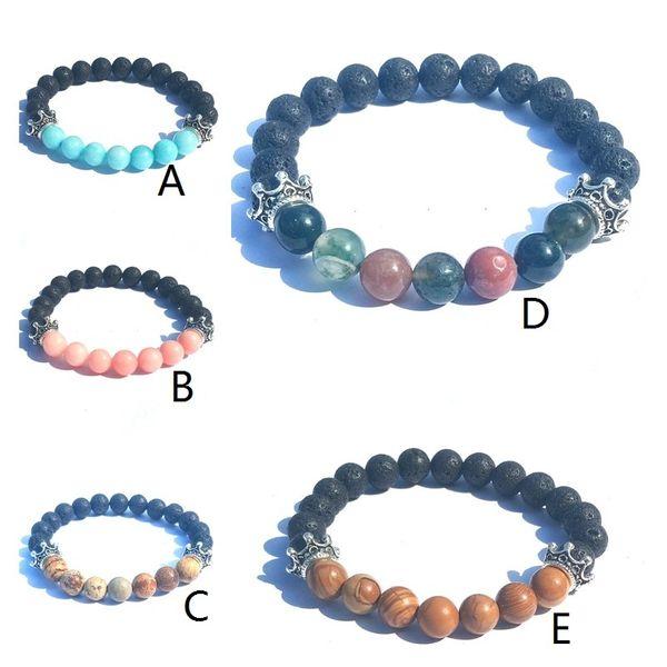 Crown Charms Natural Stone Black Lava Stone Beads Elastic Bracelet Essential Oil Diffuser Bracelet Volcanic Rock Beaded Hand Strings