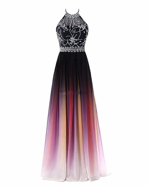New Sexy Halter Neck A-line Gradient Color Prom Dresses Beaded Sheer Neck Lace Up Pluning Back Design Women Evening Dress Waist Beaded Sash