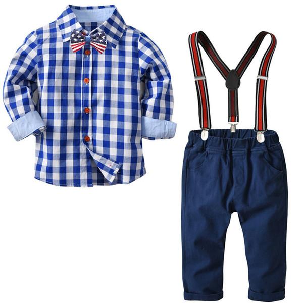 Conjunto de ropa de bebé recién nacido conjunto de manga larga camisa de algodón a cuadros + traje de pantalón de liga niños 2pcs conjuntos HB01