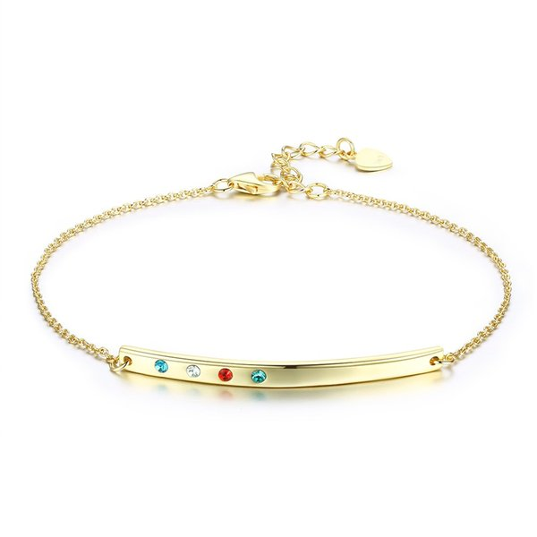 18k gold color charm bracelets women's 925 silver party 3 color round Cubic zirconia lobster clasps extendent chain simple style bangle