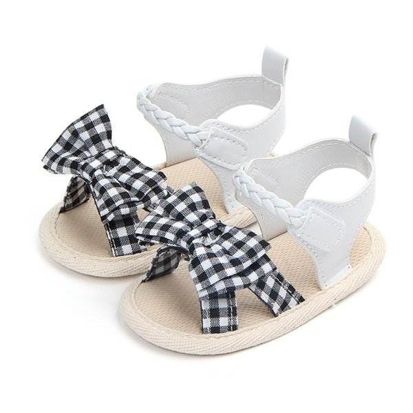 2018Soft Soled Princess Shoes For Girls Cute Bow Tie Baby Girls Shoes Summer Cotton Newborn Girl First Walkers