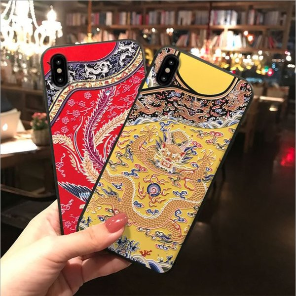 Pour Iphone6 / 7/8 / x Plus Style CHINA Yanji Raiders Tpu Dull Polonais Antique Style Dragon Coque Cny Tradition For Boss