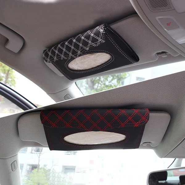 Car Tissue Box Holder Sun Visor Type With Paper Towels Microfiber Leather PU Red Wine White Line Car Organizer Accessories