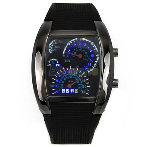 Nova VENDA QUENTE RPM Turbo Flash Azul LED Relógio De Pulso De Quartzo Mens Sports Dial Presentes de Aniversário