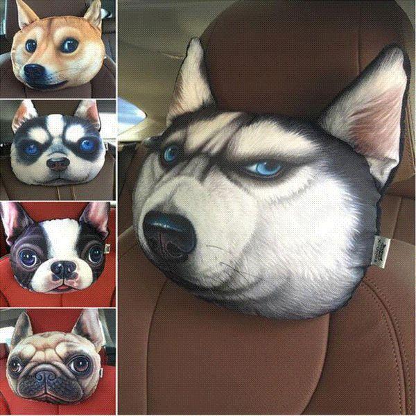 Car Headrest auto headrest Lovely 3D Printed Animals Face car Seat Covers Neck Auto Safety Headrest Supplies